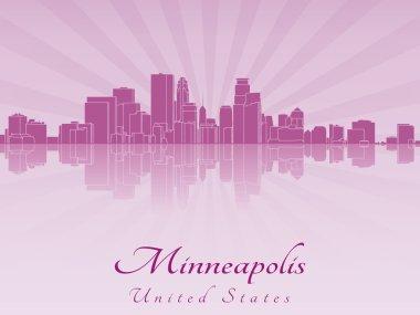 Minneapolis skyline in purple radiant orchid