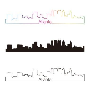 Atlanta skyline linear style with rainbow