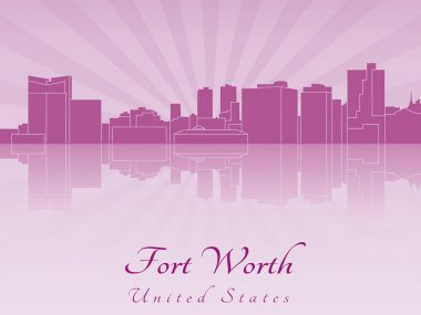 Fort Worth skyline in purple radiant orchid