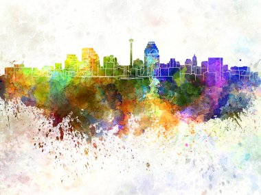 San Antonio skyline in watercolor background