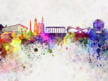 Minsk skyline in watercolor background