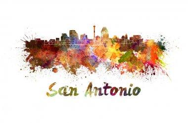 San Antonio skyline in watercolor