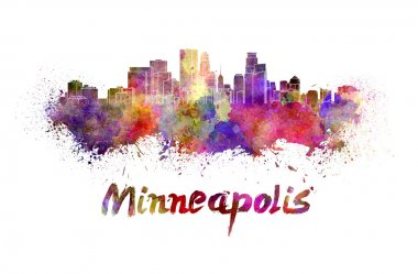 Minneapolis skyline in watercolor