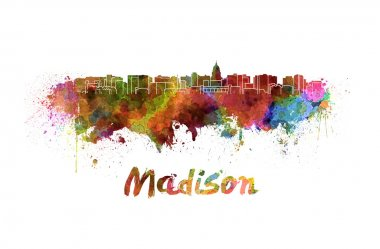 Madison skyline in watercolor