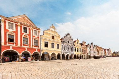 Telc, Czech Republic - May 10, 2013 Unesco city A row of the houses on main square