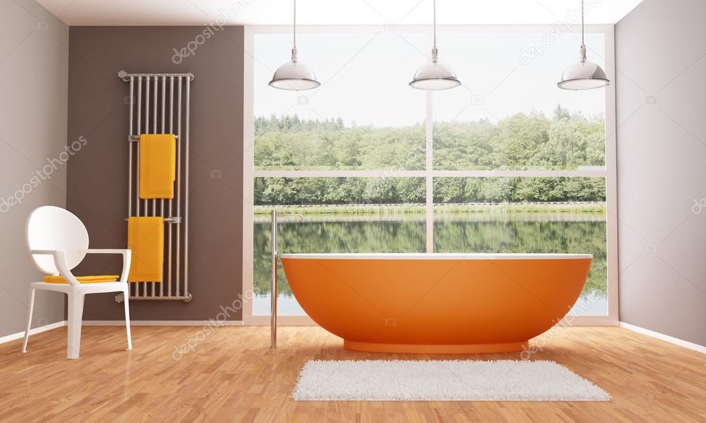 Braun Und Orange Modernes Badezimmer U2014 Stockfoto