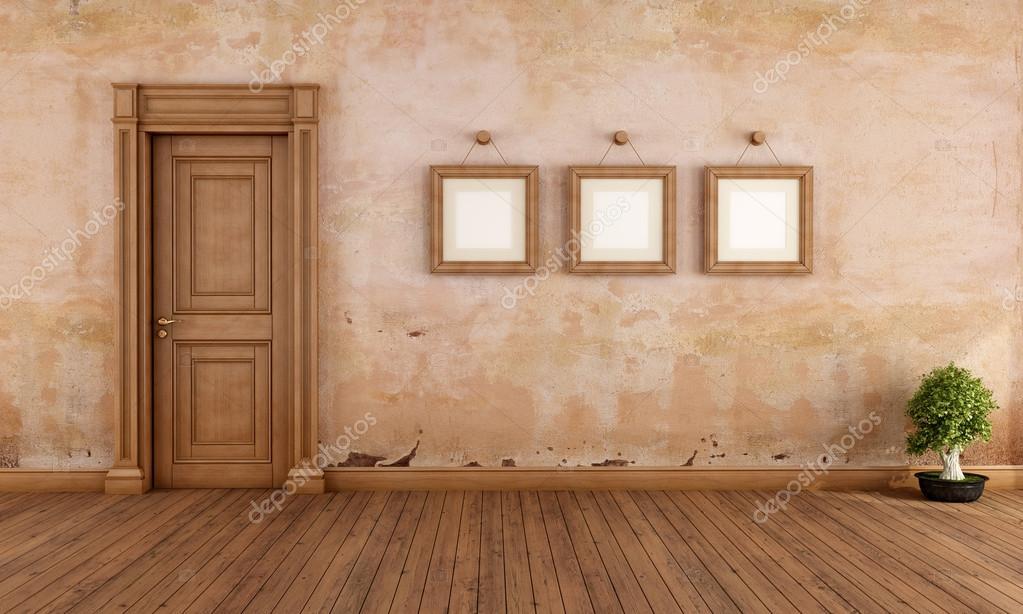 빈 나무 문을와 빈 프레임 빈티지 인테리어-렌더링 — 스톡 사진 ...