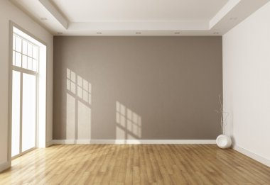 Empty brown room