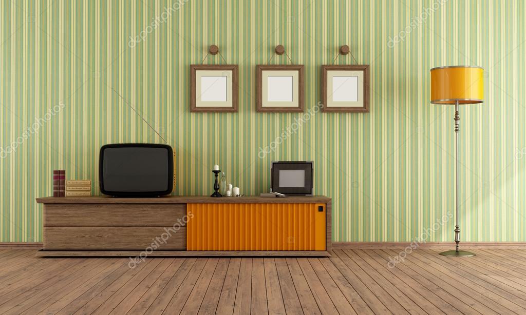 Retro tv in een woonkamer — Stockfoto © archideaphoto #18783447