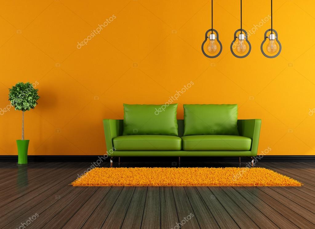 moderne grün und orange Wohnzimmer — Stockfoto © archideaphoto #21425465