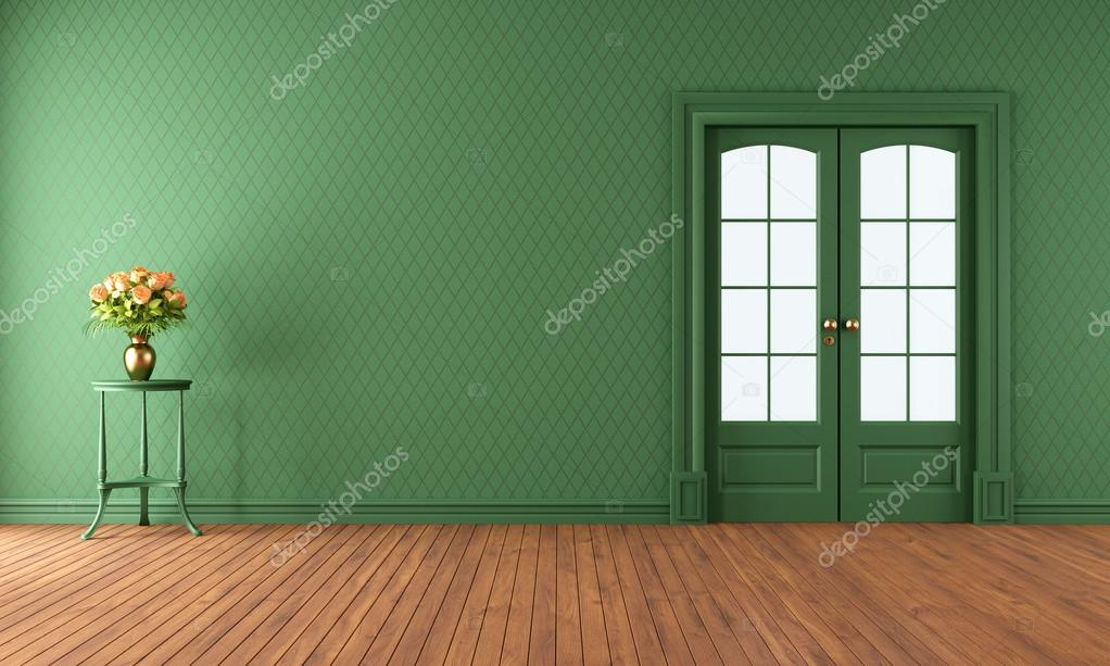 lege groene woonkamer met schuifdeur — Stockfoto © archideaphoto ...