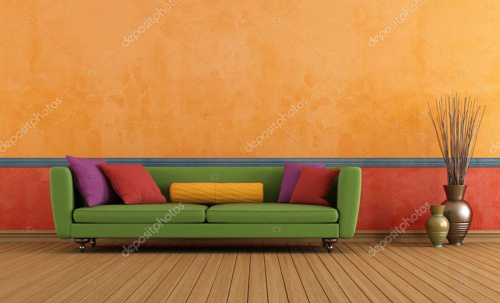grün-rot und orange-Wohnzimmer — Stockfoto © archideaphoto #23915257