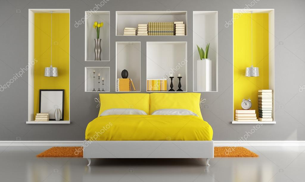chambre à coucher moderne jaune et gris — Photographie archideaphoto ...