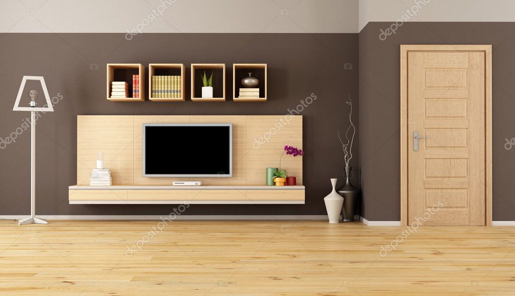 Living Room With Led Tv Stock Photo Archideaphoto