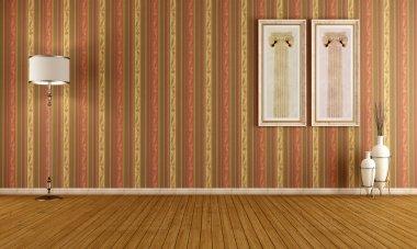 Empty vintage interior with elegant wallpaper