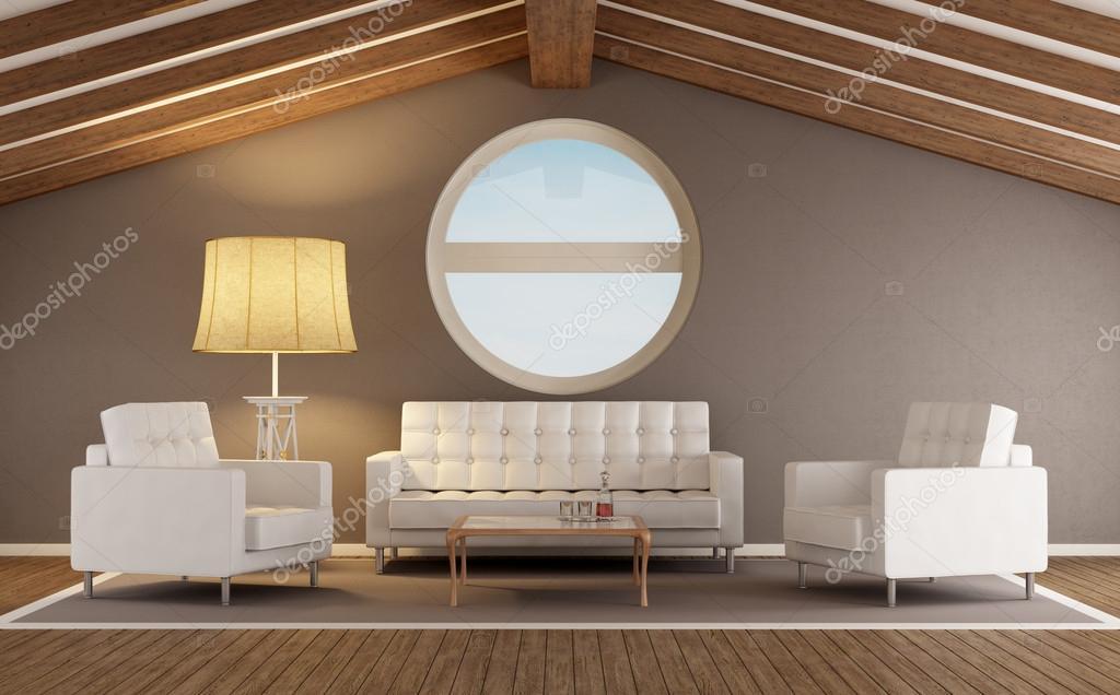 Woonkamer Op Zolder : Moderne woonkamer op een zolder u stockfoto archideaphoto