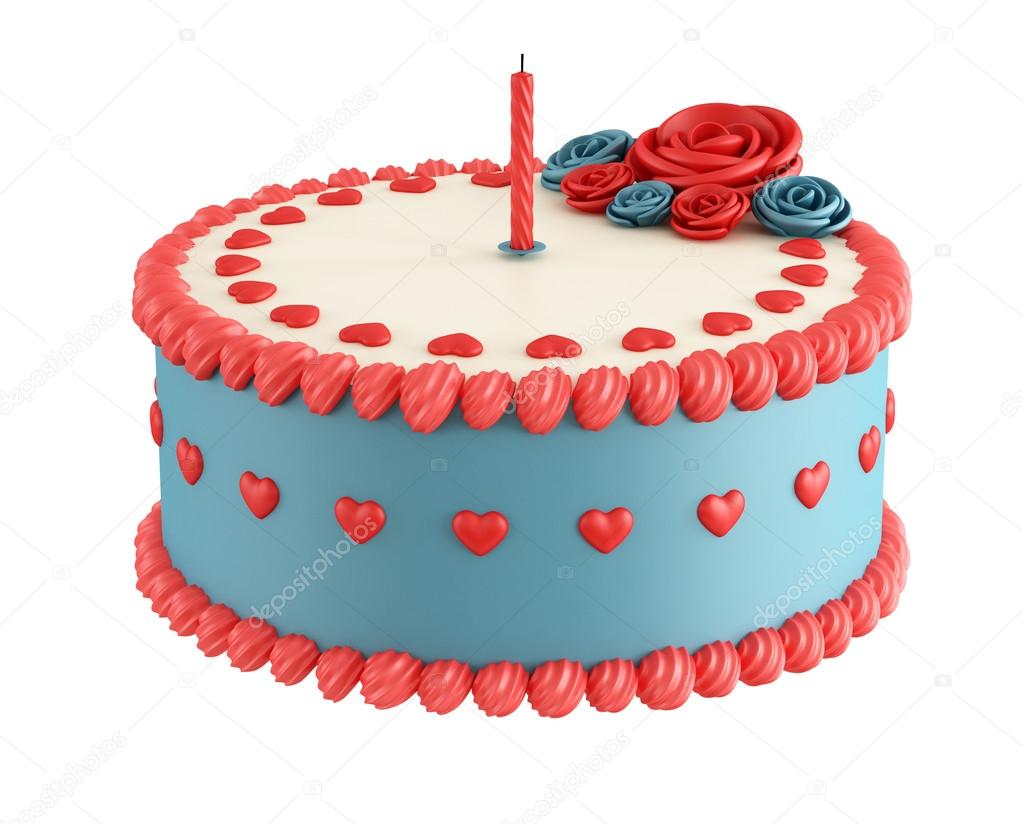 Birthday Cake With Heartflower And Candel Isolated On White