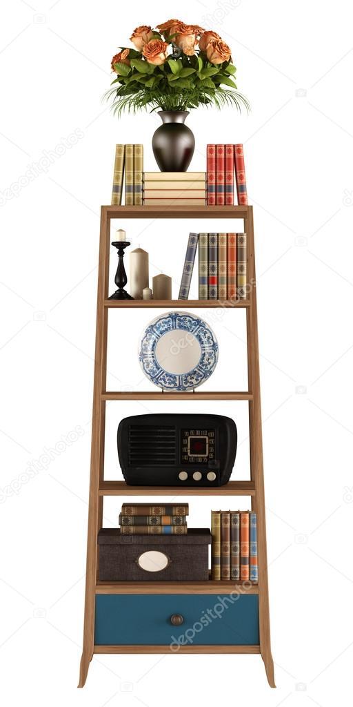 Retro boekenkast op wit — Stockfoto © archideaphoto #31682827