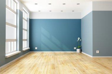 "Картина, постер, плакат, фотообои ""пустая голубая гостиная "", артикул 32691123"