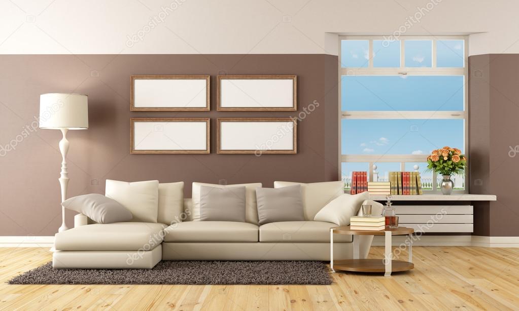 Beige und braun lounge — Stockfoto © archideaphoto #33169941