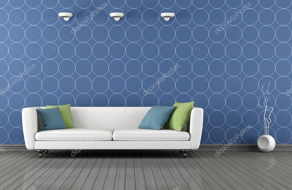 Salotto moderno bianco e blu foto stock archideaphoto for Salotto moderno bianco