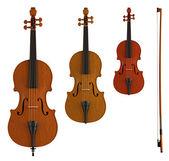 Fényképek hegedű, nagybőgő és brácsa