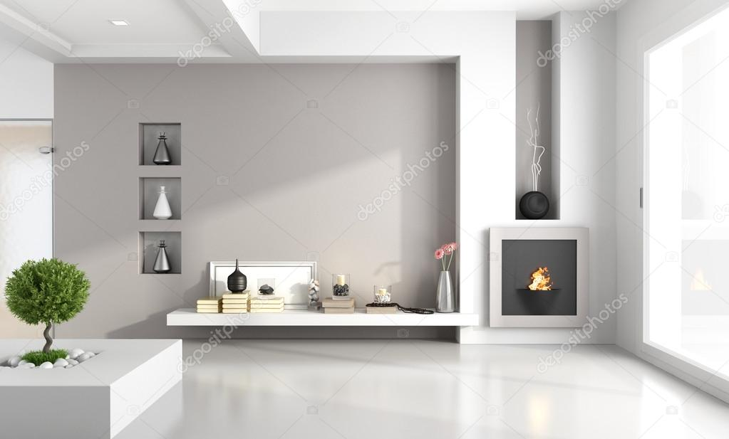 Minimalist living room with fireplace stock photo for Sala de estar sin muebles