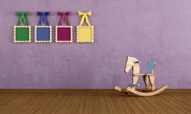 Vintage play room with wooden horse