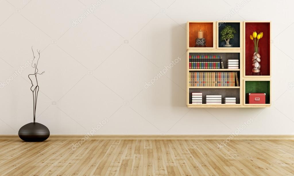 Empty room with bookcase