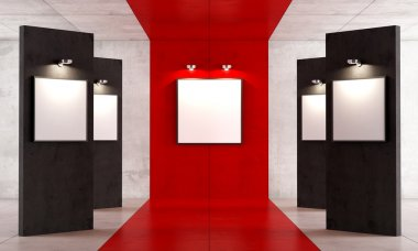 Red and black contemporary art gallery