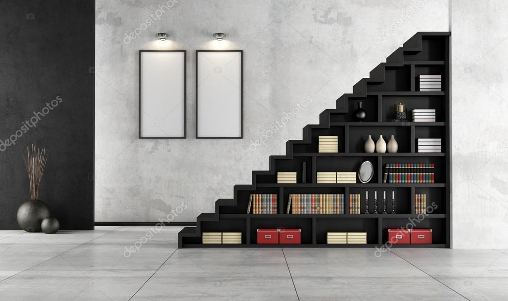 woonkamer met houten trap en boekenkast — Stockfoto © archideaphoto ...