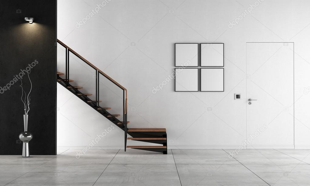 Minimalistische woonkamer met trap rendering u stockfoto