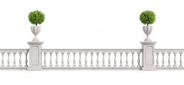 Classic balustrade isolated on white