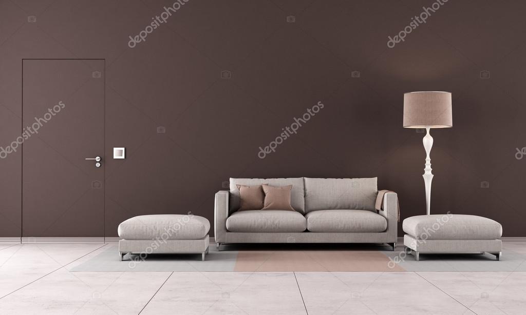 sala de estar contemporánea marrón — Fotos de Stock © archideaphoto ...