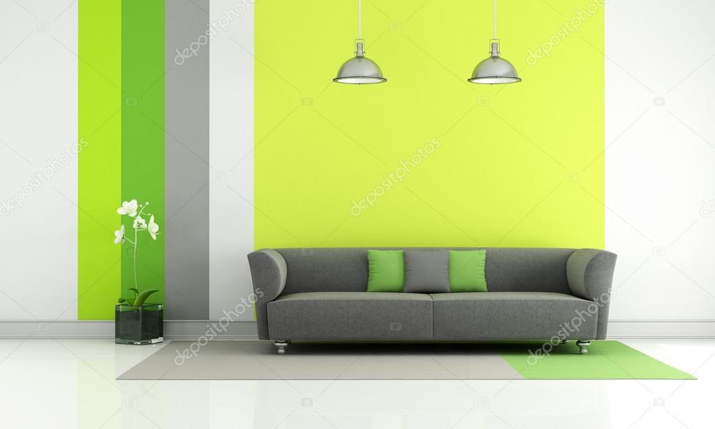 Woonkamer Groen Grijs : Groen en grijs woonkamer u stockfoto archideaphoto