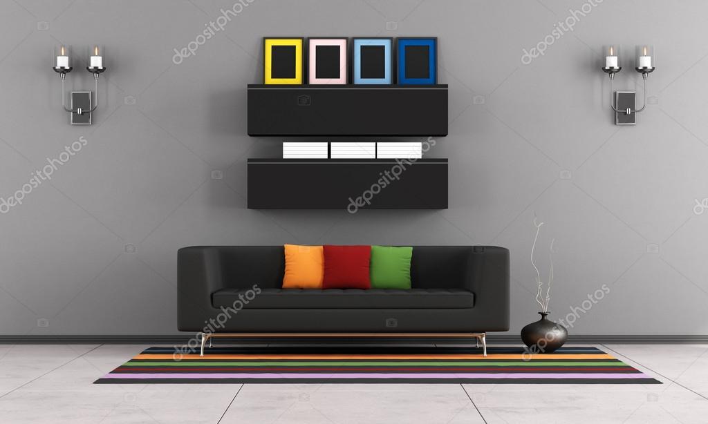 salon contemporain avec canapé noir — Photographie archideaphoto ...