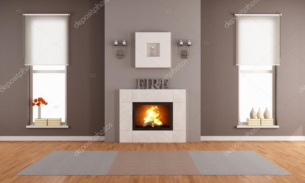 moderne wohnzimmer mit kamin — Stockfoto © archideaphoto #50414227