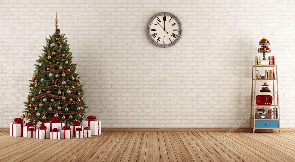 Vintage room with christmas tree