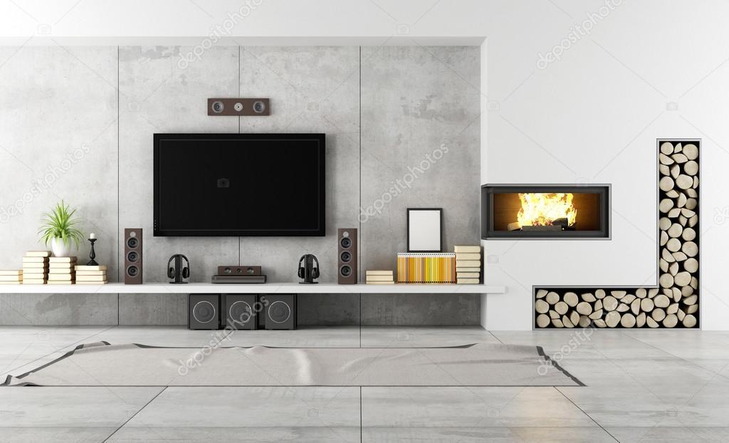salon contemporain avec cheminée — Photographie archideaphoto ...