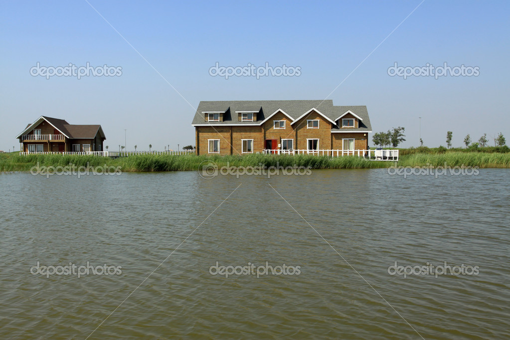 cottage houses at river
