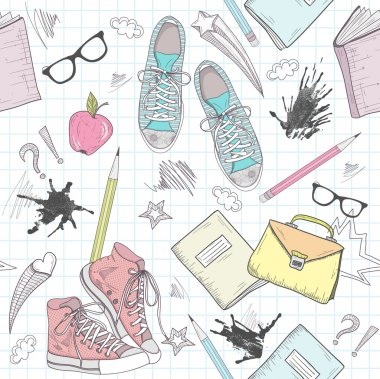 Cute school abstract pattern. Seamless pattern with shoes, bags