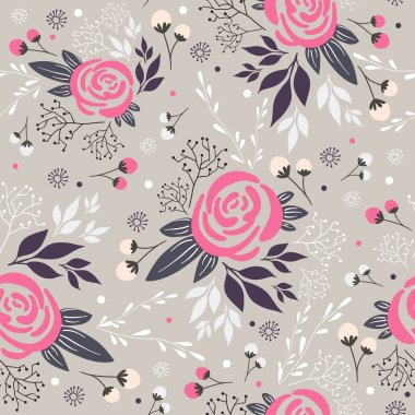 Seamless floral pattern. Background with flowers, leafs and berries