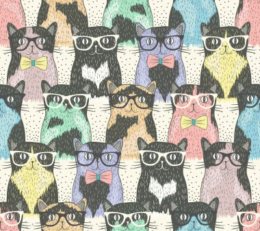 Seamless pattern with hipster cute cats for children clip art vector