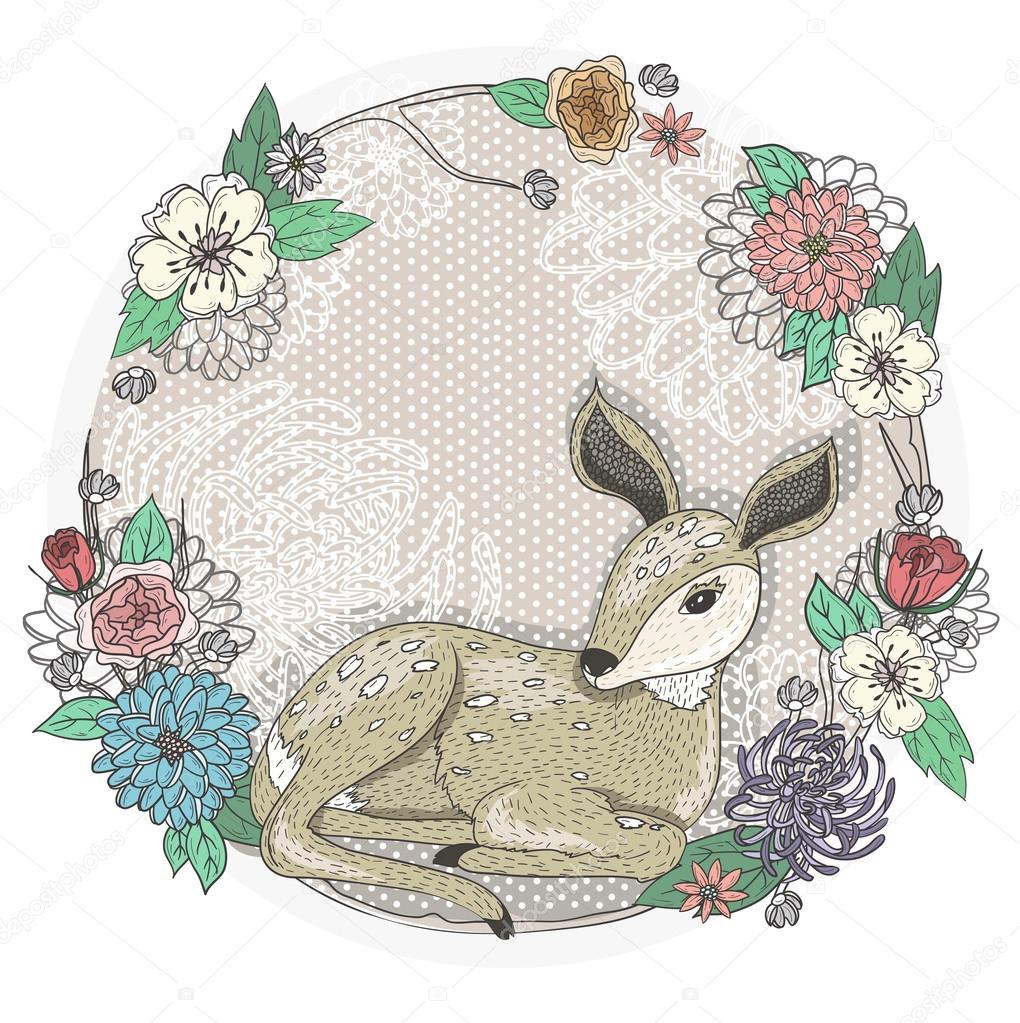 Süßes Baby-Hirsch und Blumen-Rahmen — Stockvektor © lape_snape #43357699