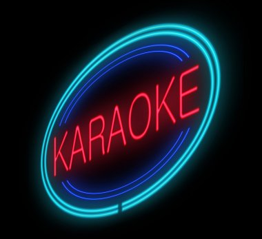 Illuminated karaoke sign.