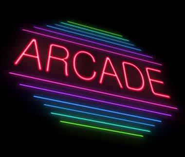 Illustration depicting an illuminated neon arcade sign. stock vector