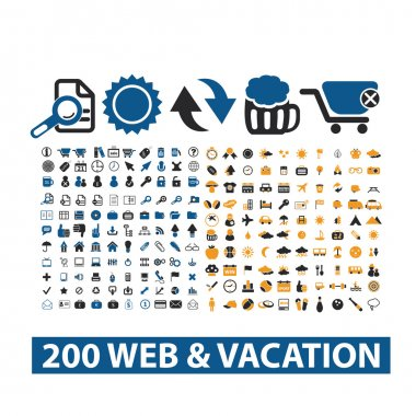 20 web & vacation icons set, vector