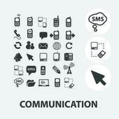 Komunikace ikony set, vektor