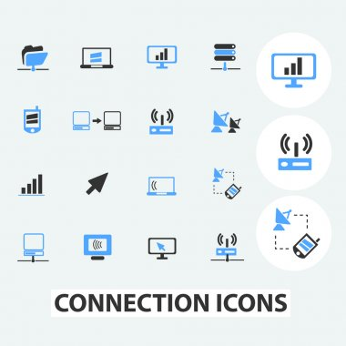 Connection, communication, computer technology icons set, vector