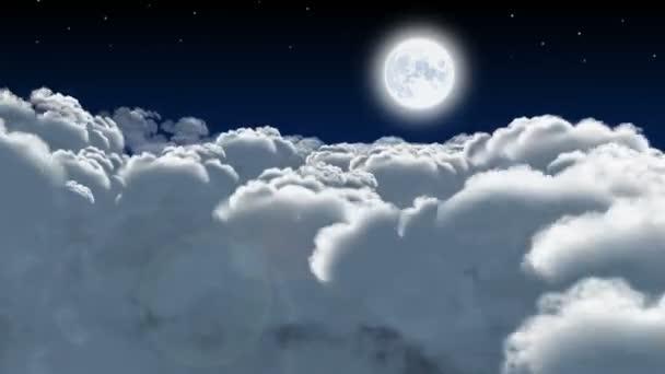 Noční let přes kupovité mraky